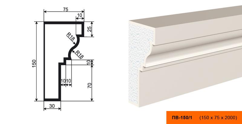 Подоконник  ПВ - 150/1 (150х75х2000)