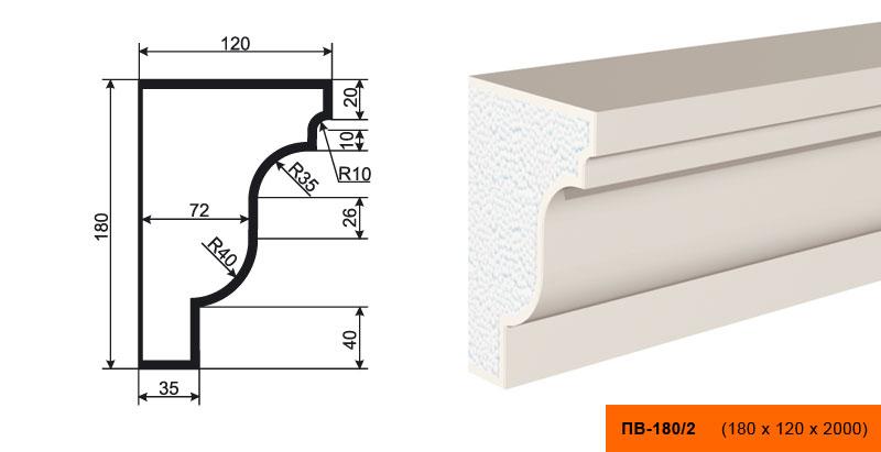 Подоконник  ПВ - 180/2  (180х120х2000)